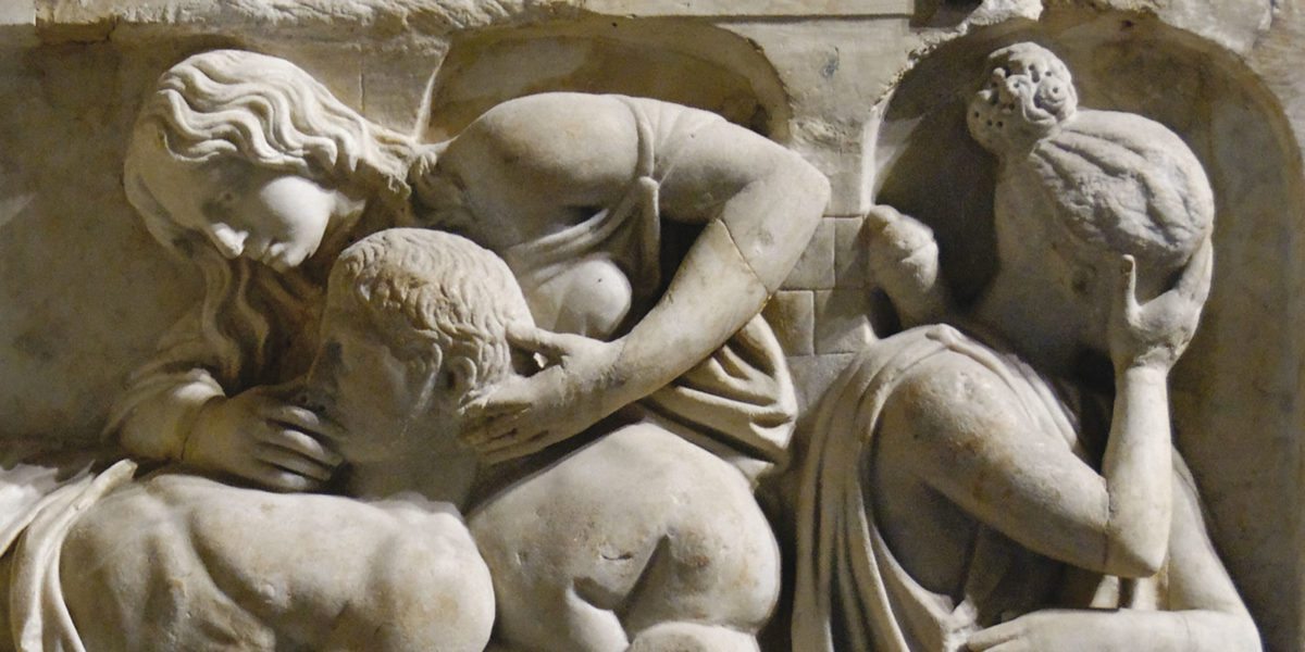 "Relief, so-called ""death of Meleager"", Marble, 2nd century AD, may have come from a Roman sarcophagus"